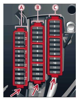 2013 to 2016 Audi A5 - Fuse Box Location and Fuses Amperages